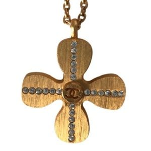 CHANEL Jewelry - 💯 Chanel Gold cross cc logos necklace crystal