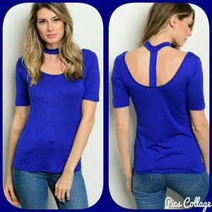 Jewely's Justifiables  Tops - Cobalt Choker Top