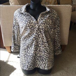 NWOT Merona Gray Leopard Print Top