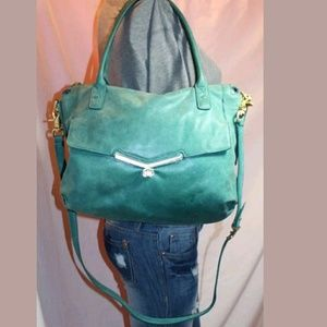 Botkier Handbags - Botkier Green Distressed Leather Satchel Crossbody