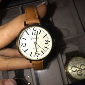 Accessories - Cute leather Geneva watch- tan leather