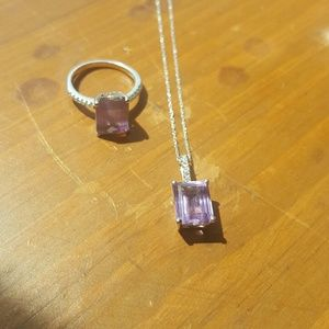 10K amethyst and diamond necklace/ring set