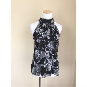 Iz Byer Tops - NWT Iz Byer black floral sleeveless blouse sz S
