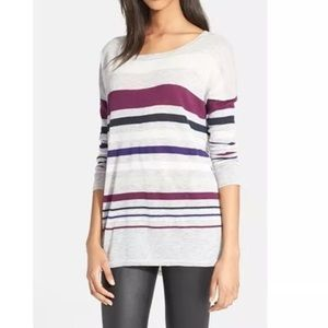 Vince Sweaters - VINCE Gray Purple Striped Oversized Sweater