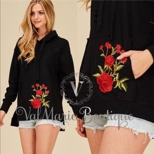 Rose Patch Embroidered Slight Hoodie