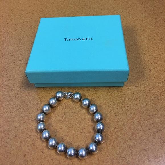 5f0aeda5a TIFFANY & Co. 10mm sterling silver beads. Sz 7.5'.  M_58fe2ce26a583045b500c161