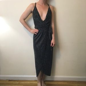 Bec & Bridge Dresses & Skirts - NWT Bec & Bridge Silver Striped Wrap Maxi Dress