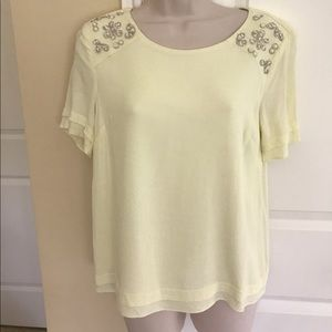 Pretty yellow embellished shoulder top S