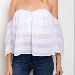 Tops - STRAPLESS OFF THE SHOULDER TOP PALE PINK AND WHITE