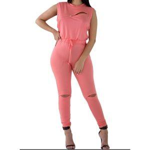 Pants - Creative Zip Line Orange Stretchy Jumpsuit
