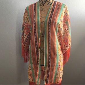 Nostalgia Tops - Nostalgia Aztec Sheer Fringe Kimono