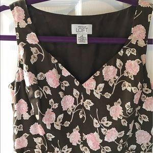 Ann Taylor loft dress size 0 brown pink flowers