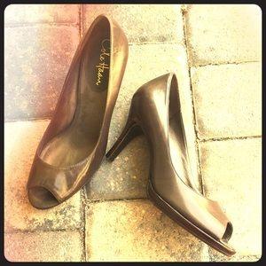 Cole Haan Shoes - Cole Haan Nike Air Open-Toe Brown Heels