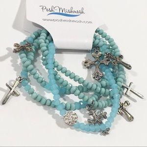 Posh Mishmosh Jewelry - ❤️ 5 Stretch Bracelets w/ Crosses