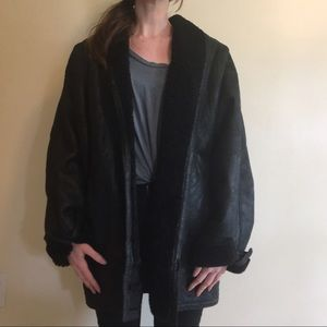 Leather Pile-lined Shawl Collar Coat