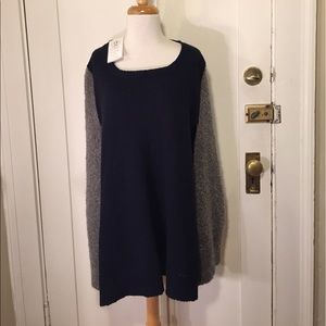 2 Chic Sweaters - 2 Chic Luxe Gray navy blue knit poncho One size