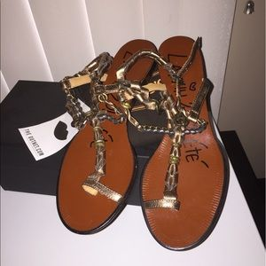 New Lanvin leather chained gladiator sandals shoes