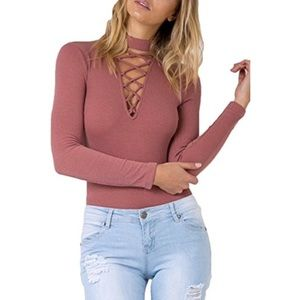 Pants - pink ribbed V-neck lace up body suit