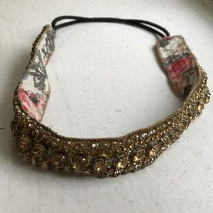 Deepa Gurnani Accessories - Deepa Gurnani crystal embroidered head wrap