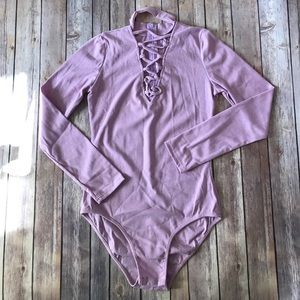 Tops - LAST 1 ribbed choker V-neck bodysuit purple