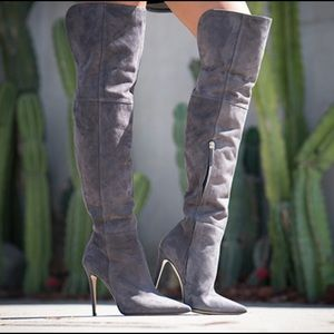 M. Gemi Shoes - M.Gemi Altezza Over the Knee Boot Grey Suede 7