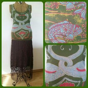 Custo Barcelona Dresses & Skirts - CUSTO BARCELONA fringe koi swan maxi tank dress M