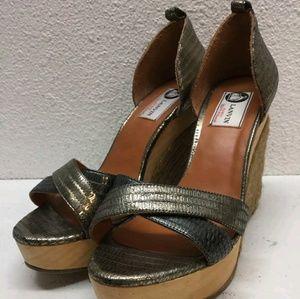 Lanvin Shoes - Lanvin gold embossed leather espadrille wedges