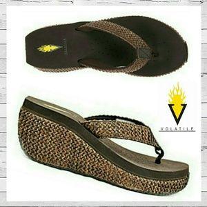Volatile Shoes - Volatile Island Jute Wedge Thong Sandal Sz 8