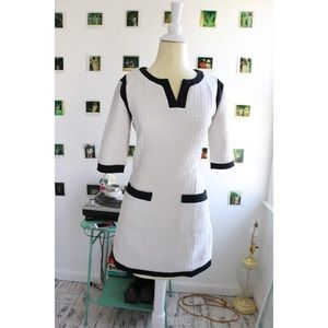 Raised Detailing White Semi Fit Dress