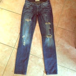 Guess Denim - Guess distressed dark skinny jeans