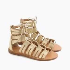 J. Crew Shoes - J. Crew Gold Sparkle Gladiator Sandals Lace Up 8.5