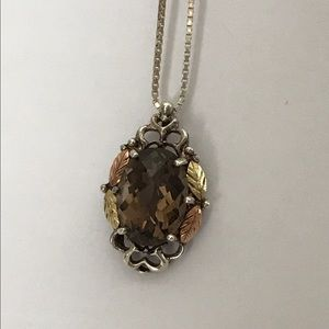 Vintage Jewelry - Sterling and 12k Cushion Cut Brown Topaz Necklace