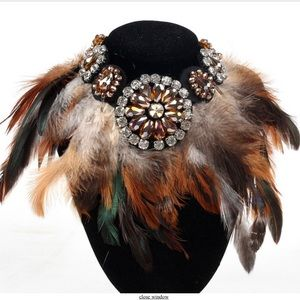 Iconic Legend Jewelry - Multi Hues of Brown Feathers Choker
