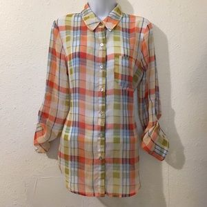 Timing Tops - Timing Sz M Sheer Button Down Top