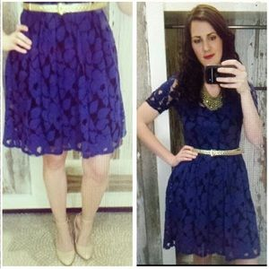 Anthropologie navy lace dress
