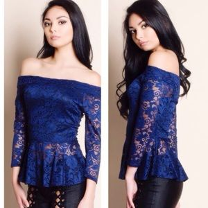 "fiveoclockwear Tops - 🎉 ""Sidney Summers"" Blue Lace Off-the-Shoulder Top"
