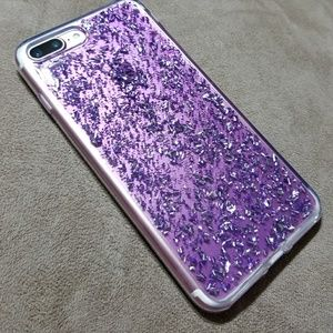 Accessories - iPhone 6/6s/6+/6s+/7/7+ Case purple/silver flakes