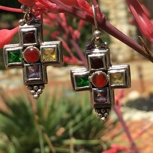 Sterling Multi-Color Stained Glass Cross Earrings