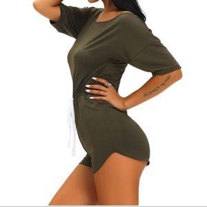 Pants - Olive Off Shoulder Drawstring Casual Romper