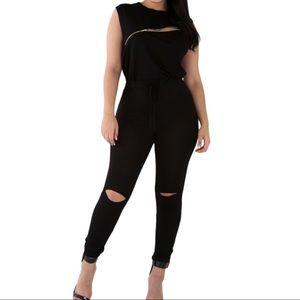 Pants - Creative Zip Line Black Stretchy Jumpsuit
