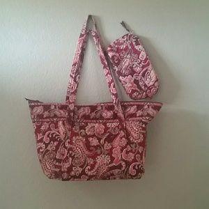 Vera Bradley Handbags - Vera Bradley maroon tote and makeup bag
