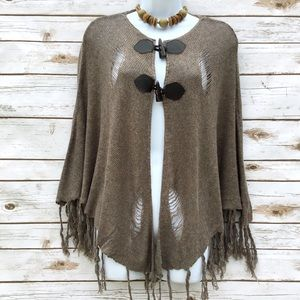 Sugar Lips Sweaters - Sugar Lips Distressed Fringed Lagenlook Poncho