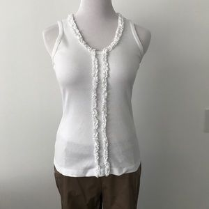 Tops - White 💯 cotton tank top with ruffle details