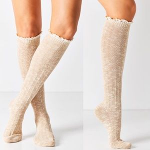 Accessories - Tan lace trimmed knee high boot socks