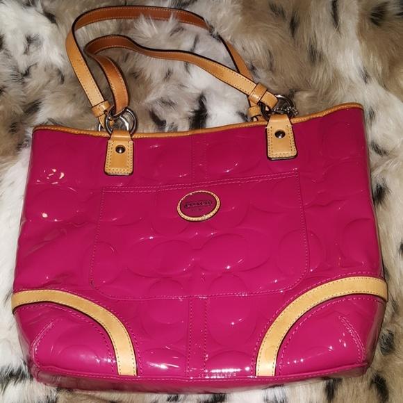 394b63b6165 Coach Bags   Purse Peyton Pink Magenta Patent Leather Tan   Poshmark