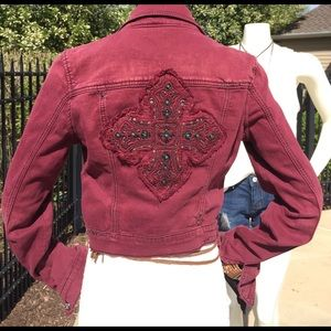 Miss Me Sm Med maroon denim studded bling  jacket