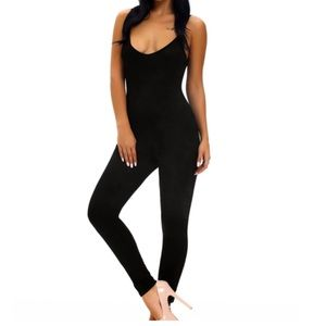 Pants - Black Spaghetti Straps Simple Stretch Jumpsuit
