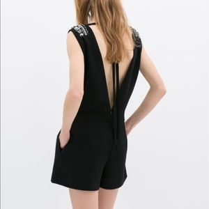 ZARA Open Back Beaded Black Romper Jumpsuit M