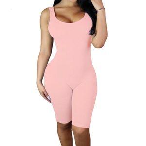 Pants - Pink Double Scoop Sleeveless Jumpsuit