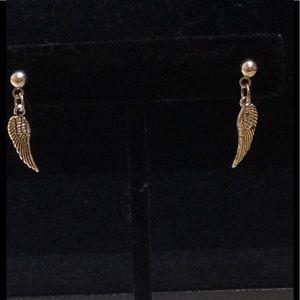 PeaceFrog Jewelry - Silver Angel Feather Stud Earrings